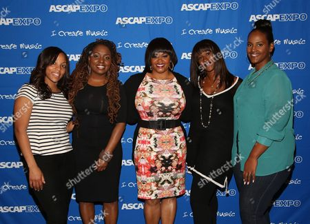 """L-R) VP, Urban, Creative Services, ASCAP Nicole George-Middleton, Artists Ledisi and Jill Scott, Co-Founder & Artist Manager, Chris Brown Ent. & Phase Too Management Tina Davis and EVP & Head of Urban Music, Universal Music Publishing Group Ethiopa Habtemariam participate in the """"Women Behind The Music: Playing for Keeps"""" panel at the 8th Annual ASCAP """"I Create Music"""" EXPO, on in Hollywood, California"""