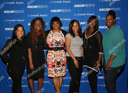 """L-R) ASCAP's Jennifer Drake, Artists Ledisi and Jill Scott, VP, Urban, Creative Services, ASCAP Nicole George-Middleton, Co-Founder & Artist Manager, Chris Brown Ent. & Phase Too Management Tina Davis and EVP & Head of Urban Music, Universal Music Publishing Group Ethiopa Habtemariam participate in the """"Women Behind The Music: Playing for Keeps"""" panel at the 8th Annual ASCAP """"I Create Music"""" EXPO, on in Hollywood, California"""