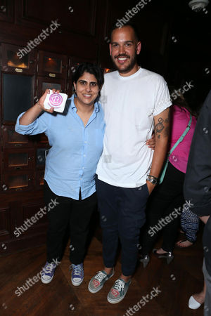 BeautyCons CEO Moj Mahdara and Creative Director Jonathan Burford at BeautyCon Los Angeles Kick Off Event Presented by Proactiv+ at The Spare Room, in Los Angeles, CA