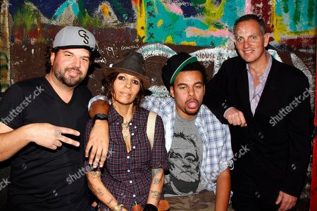 Songwriters Dallas Davidson, Linda Perry, Alex Da Kid and BMI CEO Michael O'Neill seen backstage at BMI Presents: How I Wrote That Song 2014 at the House of Blues, in West Hollywood, Calif