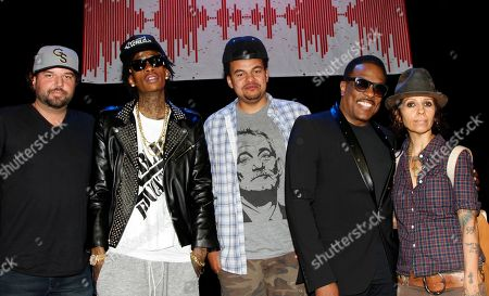 BMI songwriters (L-R) Dallas Davidson, Wiz Khalifa, Alex Da Kid, Charlie Wilson and Linda Perry seen at BMI Presents: How I Wrote That Song 2014 at the House of Blues, in West Hollywood, Calif