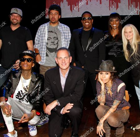 Top) Songwriters Dallas Davidson, Alex Da Kid, Charlie Wilson, Catherine Brewton, BMI VP Writer/Publisher Relations, Atlanta and Barbara Cane BMI General Manager Los Angeles. (front) Wiz Khalifa, BMI CEO Michael O'Neil and Linda Perry seen at BMI Presents: How I Wrote That Song 2014 at the House of Blues, in West Hollywood, Calif