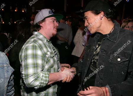 Actors Danny Tamberelli, left, and Andrew Keegan, right, attend BuzzFeed's Throwback Thursday: '90s Nostalgia Night presented by Hasbro Game Night and Canon PowerShot at the Canal Room on in New York