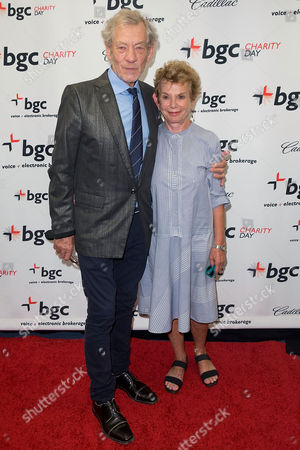 Stock Picture of Ian McKellen and Dena Hammerstein arrives at the Annual Charity Day hosted by Cantor Fitzgerald and BGC Partners, on in New York