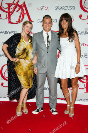 Victoria Bartlett, John Bartlett and Julie Gilhart arrive at the CFDA Fashion Awards, in New York