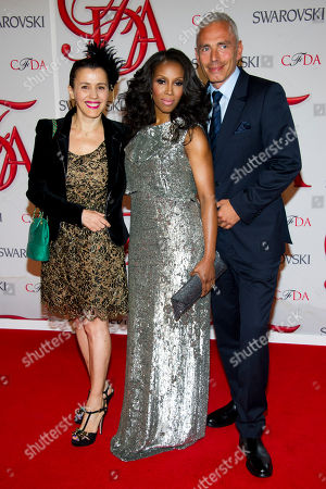 Stock Photo of Selima Salaun, June Ambrose and Christian Ross arrive at the CFDA Fashion Awards, in New York