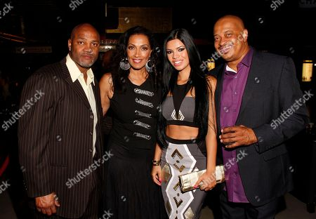 L-R) Eric Gudger, Kathleen Bradley, Suelyn Medeiros and Derrell Spann posed at Chambored Vodka Goes Hollywood Hosted by Boris Kodjoe at Chinese 6 Theatre Ballroom in Hollywood, Calif