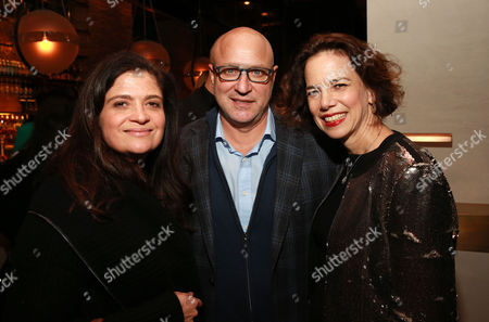"""Chef Alex Guarnaschelli, chef Tom Colicchio and editor-in-chief of FOOD & WINE Dana Cowin seen at CHEFS CLUB BY FOOD & WINE opening party and celebration of Dana Cowin's new book """"Mastering My Mistakes in the Kitchen,"""" at CHEFS CLUB BY FOOD & WINE on in New York"""
