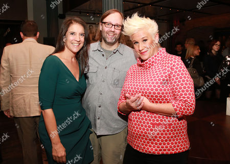 "Stock Photo of Senior vice president and publisher of FOOD & WINE Christina Grdovic, chef Wylie Dufresne and chef Anne Burrell seen at CHEFS CLUB BY FOOD & WINE opening party and celebration of Dana Cowin's new book ""Mastering My Mistakes in the Kitchen,"" at CHEFS CLUB BY FOOD & WINE on in New York"