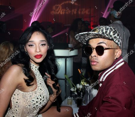Recording artists Darnaa and Bobby Brackins pose at Darnaa's Listening Party and Live Performance Event on at Whisky a Go Go in West Hollywood, California