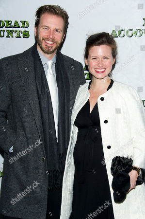 """Bill Heck and Maggie Lacey arrive at the opening night performance of the Broadway play """"Dead Accounts"""" on in New York"""