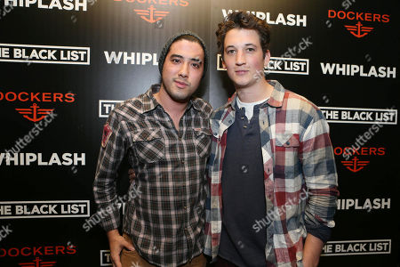 Justin Nappi, left, and Miles Teller attend the Whiplash official Sundance after party hosted by Dockers and The Black List,, in Park City, Utah