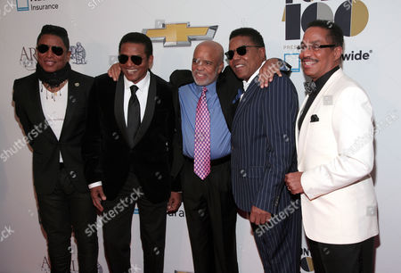 From left, musicians Jermaine Jackson and Jackie Jackson, founder of the Motown Records Berry Gordy, Jr., Tito Jackson and Marlon Jackson attend the Ebony Power 100 Gala on in New York