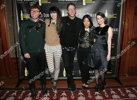 From left, fashion designers Timo Weiland, Lindsay Degen, Alan Eckstein, Donna Kang and Jordana Warmflash attend the Ecco Domani Fashion Foundation 2014 Winners Happy Hour, on in New York