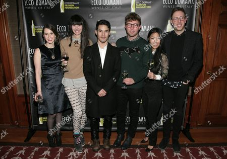 IMAGE DISTRIBUTED FOR ECCO DOMANI FASHION FOUNDATION - From left, fashion designers Jordana Warmflash, Lindsay Degen, Joseph Altuzarra, Timo Weiland, Donna Kang and Alan Eckstein attend the Ecco Domani Fashion Foundation 2014 Winners Happy Hour, on in New York