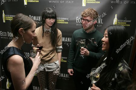 From left, fashion designers Jordana Warmflash, Lindsay Degen, Timo Weiland and Donna Kang attend the Ecco Domani Fashion Foundation 2014 Winners Happy Hour, on in New York