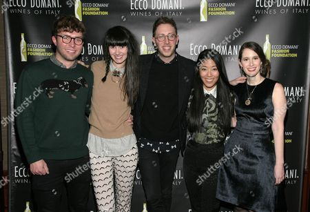 IMAGE DISTRIBUTED FOR ECCO DOMANI FASHION FOUNDATION - From left, fashion designers Timo Weiland, Lindsay Degen, Alan Eckstein, Donna Kang and Jordana Warmflash attend the Ecco Domani Fashion Foundation 2014 Winners Happy Hour, on in New York