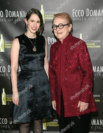 Fashion designer Jordana Warmflash, left, and Editor of the International Fashion Syndicate Marylou Luther, right, attend the Ecco Domani Fashion Foundation 2014 Winners Happy Hour, on in New York