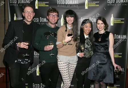 Stock Photo of From left, fashion designers Alan Eckstein, Timo Weiland, Lindsay Degen, Donna Kang and Jordana Warmflash attend the Ecco Domani Fashion Foundation 2014 Winners Happy Hour, on in New York