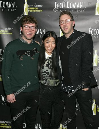 From left, fashion designers Timo Weiland, Donna Kang and Alan Eckstein attend the Ecco Domani Fashion Foundation 2014 Winners Happy Hour, on in New York