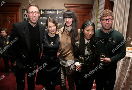 From left, fashion designers Alan Eckstein, Jordana Warmflash, Lindsay Degen, Donna Kang and Timo Weiland attend the Ecco Domani Fashion Foundation 2014 Winners Happy Hour, on in New York