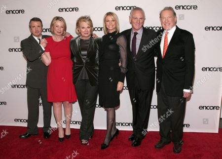"Stock Picture of From left, actor Grant Shaud, series creator Diane English, actresses Candice Bergen and Faith Ford, and actors Joe Regalbuto and Charles Kimbrough attend ""Murphy Brown: A 25th Anniversary Event"" presented by ENCORE, in New York"