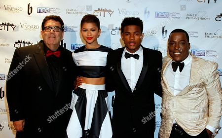 Victorino Noval, Zendaya, Trvor Jackson and Won-G Bruny seen at Fame and Philanthropy's Celebrates the 86th Academy Awards on at The Vineyard Beverly Hills in Los Angeles, CA
