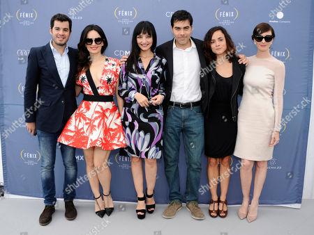 From left, Ana de la Reguela, Maria de Medeiros and Ricardo Giraldo, Ana Braga and Paz Vega at the Fenix Film Awards Launch during the 67th international film festival, Cannes, southern France