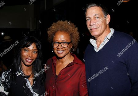 "Lorna Johnson (L) and Brad Johnson (R) seen with Paula Williams Madison who hosted industry friends at screening of her autobiographical documentary, ""Finding Samuel Lowe: From Harlem to China which traces her family's roots from Jamaica to China, on in Los Angeles, California"