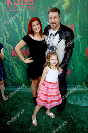 """Stock Photo of Briahna Joely Fatone, Kloey Alexandra Fatone and Joey Fatone seen at Focus Features Los Angeles Premiere of LAIKA """"Kubo and The Two Strings"""", in Universal City, Calif"""