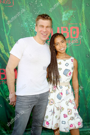 """Screenwriter Marc Haimes and Asia Monet Ray seen at Focus Features Los Angeles Premiere of LAIKA """"Kubo and The Two Strings"""", in Universal City, Calif"""