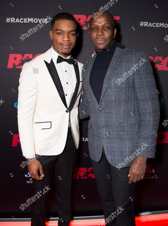 """Actor Stephan James and Olympian Donovan Bailey seen at the Focus Features premiere of """"Race"""", in Toronto"""