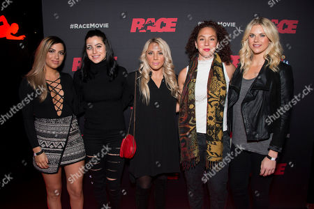 "Soccer players Francesca Filigno, Jonelle Filigno, Adriana Leon, Carmelina Moscato and Lauren Sesselmann seen at the Focus Features premiere of ""Race"", in Toronto"