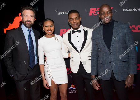 """Actors Jason Sudeikis, Shanice Banton and Stephan James and Olympian Donovan Bailey seen at the Focus Features premiere of """"Race"""", in Toronto"""