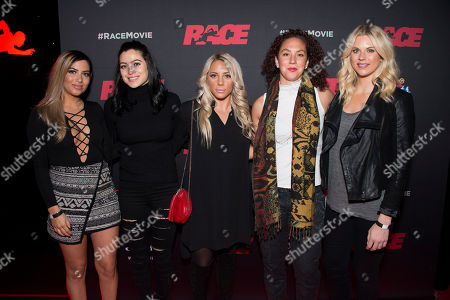 "Stock Photo of Soccer players Francesca Filigno, Jonelle Filigno, Adriana Leon, Carmelina Moscato and Lauren Sesselmann seen at the Focus Features premiere of ""Race"", in Toronto"
