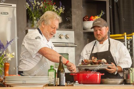 On left, Chef Jonathan Waxman at the What a Catch session, during the Chicago Food + Wine Festival, in Chicago