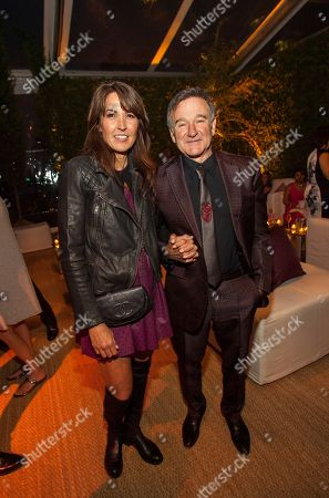 Susan Schneider and Robin Williams during the George Lucas and Mellody Hobson's wedding reception at Promontory Point on in Chicago