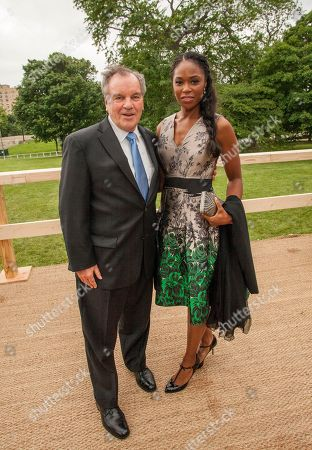 Former Mayor of Chicago, Richard M. Daley and Dr. Adele Joy Cobbs during the George Lucas and Mellody Hobson's wedding reception at Promontory Point on in Chicago