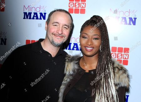 "TV producer Mark Cronin and TV personality Toccara Jones seen at GSN ""Mind of a Man"" Premiere Launch Party, on in West Hollywood. California"