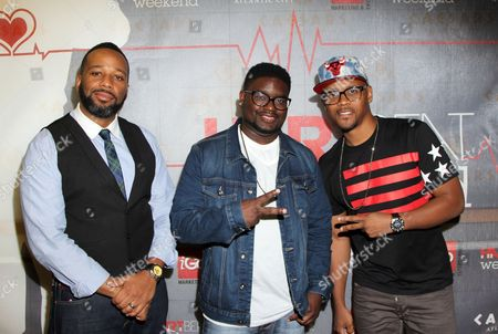 L-R) Comedians Joe Clair, Lil Rel and Lavar Walker arrive at HartBeat Weekend Comedy All-Stars Show Hosted by Kevin Hart on at Circus Maximus Theatre at Ceasars Hotel & Casino in Atlantic City, New Jersey