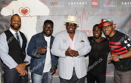 """L-R) Comedians Joe Clair, Lil Rel, Cedric """"The Entertainer"""", Kevin Hart and Lavar Walker arrive at HartBeat Weekend Comedy All-Stars Show Hosted by Kevin Hart on at Circus Maximus Theatre at Ceasars Hotel & Casino in Atlantic City, New Jersey"""