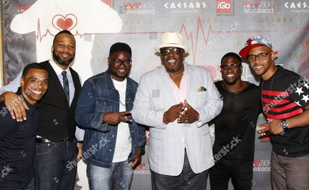 """L-R) Executive Producer Lealand """"Pookey"""" Wigington, comedians Joe Clair, Lil Rel, Cedric """"The Entertainer"""", Kevin Hart and Lavar Walker arrive at HartBeat Weekend Comedy All-Stars Show Hosted by Kevin Hart on at Circus Maximus Theatre at Ceasars Hotel & Casino in Atlantic City, New Jersey"""