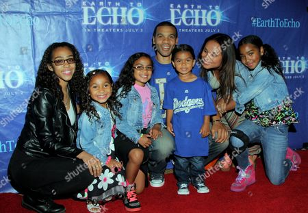 "Actor Aaron D. Spears and family seen at Holly Robinson Peete's Screening of Relativity's ""Earth To Echo"" Benefiting the HollyRod Foundation at Pacific Theatres at the Grove, in Los Angeles, California"