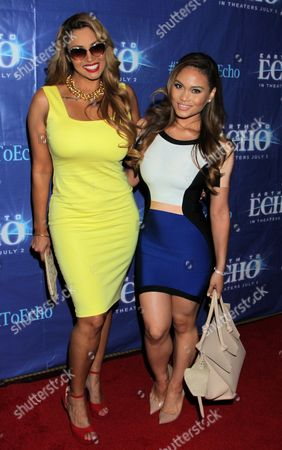 "Somaya Reece and Daphne Joy seen at Holly Robinson Peete's Screening of Relativity's ""Earth To Echo"" Benefiting the HollyRod Foundation at Pacific Theatres at the Grove, in Los Angeles, California"