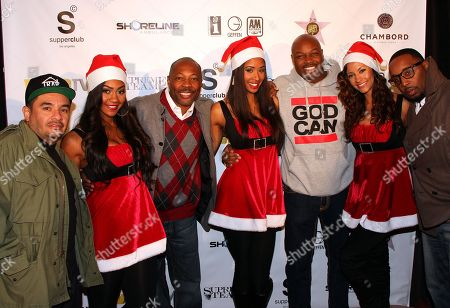L-R) J. Cruz, Sarah Fontenot, Troy Marshall, Jade Turpin, Jimmie Maggette, Juelz Garcia and Shane Mooney attend Interscope Geffen A&M Promotions Department 9TH Annual Holiday Party & Toy Drive on Tuesday, December, 18, 2012, at SupperClub in Hollywood, California