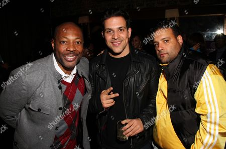 Stock Picture of L-R) Troy Marshall, rapper Azad Right and Dwight King attend Interscope Geffen A&M Promotions Department 9TH Annual Holiday Party & Toy Drive on Tuesday, December, 18, 2012, at SupperClub in Hollywood, California