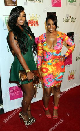 """Stock Photo of Basketball Wives LA cast members Brandi Maxiell and Malaysia Pargo attend Jackie Christie's """"Sexual Relations: A His & Hers Guide to Greater Intimacy"""" Book Launch as part of Basketball Wives LA season 3 at Sushi Kingz on in Hollywood, California"""