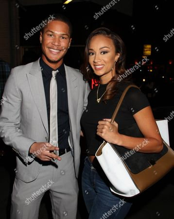 """Actor Najee De-Tiege and Draya Michele pose at Jackie Christie's """"Sexual Relations: A His & Hers Guide to Greater Intimacy"""" Book Launch as part of Basketball Wives LA season 3 at Sushi Kingz on in Hollywood, California"""