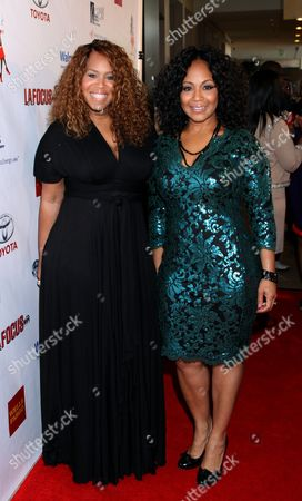 """Honorees Trecina """"Tina"""" Atkins-Campbell and sister Erica Atkins-Campbell of Gospel duo Mary Mary at LA Focus 15th Annual First Ladies High Tea at Beverly Hilton Hotel, in Bevrly Hills, California"""