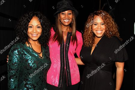 """L-R) Gospel recording artist Erica Atkins-Campbell, Yolanda Adams and Trecina """"Tina"""" Atkins-Campbell backstage at LA Focus 15th Annual First Ladies High Tea at Beverly Hilton Hotel, in Bevrly Hills, California"""